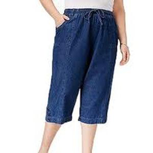 KS Cotton Denim Draw String Capri Pants Size 3XL
